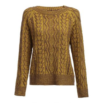 Vintage Round Collar Long Sleeve Twist Pattern Knitted Sweater for Ladies