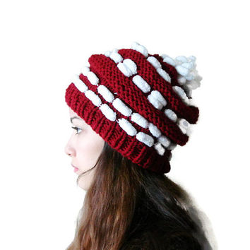 Burgundy Hand Knitted pompom hat, Dark Red and White knit hat, Christmas hat