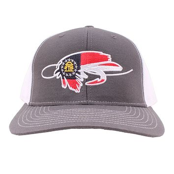 Georgia Flag Fly Hook Hat in Gray and White by Southern Snap Co.