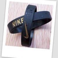 Nike baller band silicone bracelet wristband BLACK / GOLD ELITE - LIMITED