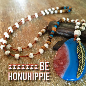 Native american tribal feather necklace, bohemian hippie jewelry