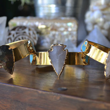 ON SALE ARROWS /// Lux Divine Gemstone Bracelet /// Gold dipped /// Turquoise and Arrowheads