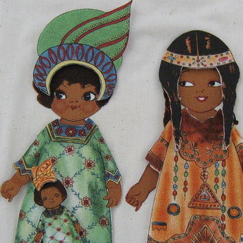Paper Dolls African And Native American Fabric Toy