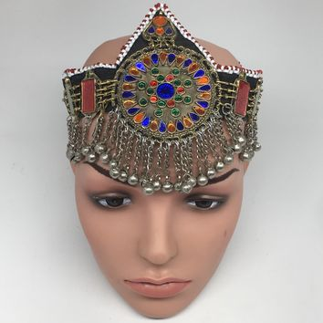 Kuchi Headdress Headpiece Afghan Ethnic Tribal Jingle Alpaca Bells Glass,CK641