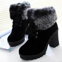 DCK7YE Fashion Lace Up High Heel Warm Winter Ankle Boots