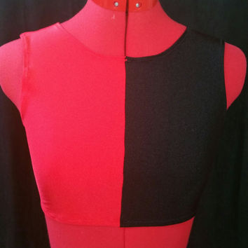 READY TO SHIP Harley Quinn Inspired Red and Black Small Stretch Sleeveless Crop Top