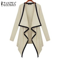 2014 Women Fashion Winter Knitted Thin Casual Irregular Collar Long Sleeve Jackets Knitwear Sweater Cardigan 2 Color S M L