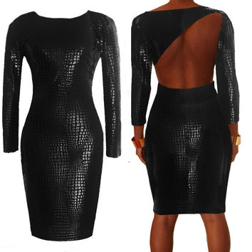 Black Long Sleeve Cut-Out Back Leather Bodycon Dress