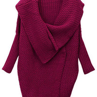 ROMWE   Wide Lapels Batwing Sleeves Claret-red Cardigan, The Latest Street Fashion