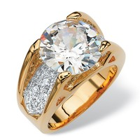 6.24 TCW Round Cubic Zirconia Pave Accent 18k Gold-Plated Engagement Anniversary Ring