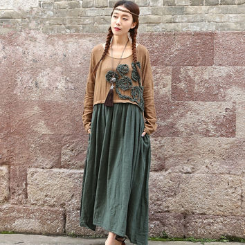 Women Dress Embroidery Floral Sweet Casual Fashion 2017 Spring New Double Cotton Linen Maxi Dress Patchwork O-Neck