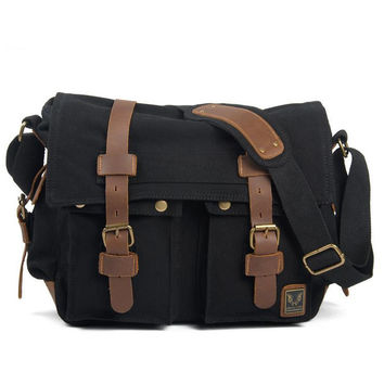 Black Canvas Leather Camera Bag Leisure Shoulder Bag Messenger Bag DSLR Camera Bag 2138DL