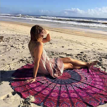 1 PC 150cm Summer  Boho Women Indian Round Mandala Tapestry Wall Hanging Throw Towel Yoga Beach Mat Vintage Decorataion VBU80T50