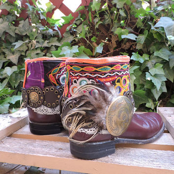Justin upcycled boots / boho southwestern Justin boots / size 7 / reworked cowboy roper boots / upcycled festival boho tribal boots