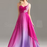 Beautiful A-line One-shoulder Rhinestones Floor Length Chiffon Graduation Dress from SinoSpecial