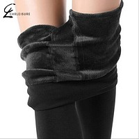 Winter Leggings Women's Warm Leggings High Waist Thick Velvet Legging Solid All-match Leggings Women