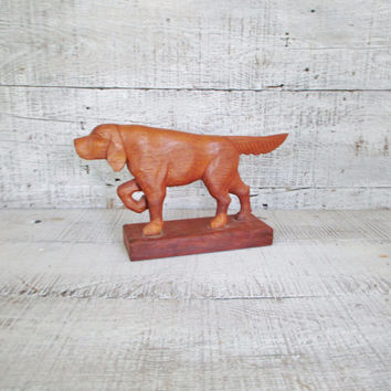 Vintage Wood Dog Figurine Mid Century Modern Dog Figurine Carved Wooden Folk Art Dog Figurine Hand-Carved Labrador Figurine Wood Sculpture
