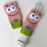 Spongebob Squarepants Patrick Star Wristwarmers, Fingerless Mitts, Crocheted Texting Gloves, Adorable Stocking Stuffer, Ready to Ship