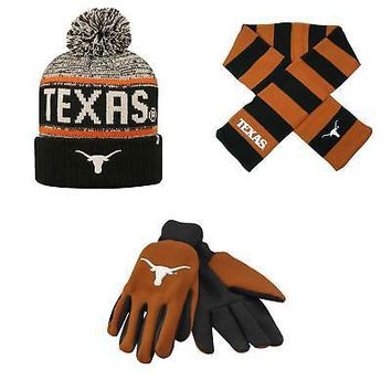 Licensed Texas Longhorns Grip Work Glove Acid Rain Beanie Hat And Striped Scarf 76677 KO_19_1