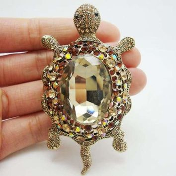Vintage Style Animal Turtle Pendant Brooch Pin Brown Crystal Rhinestone Fashion Jewelry Accessories