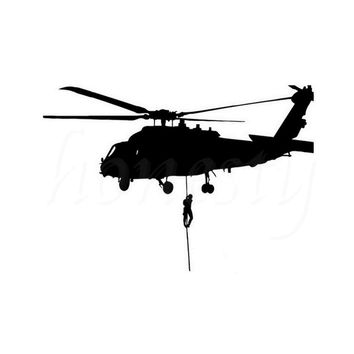 Helicopter Air Force Military Car Sticker Wall Home Glass Window Door Laptop Auto Truck Vinyl Decal Decor Black 16.4xmX11.4cm