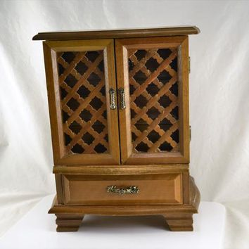 Armoire Jewelry Box Wood Cabinet Style Standing Lattice Doors 4 Drawers Storage Vintage Organizer Dresser Top