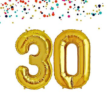 30th Mylar Birthday Number Balloons