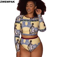 ZWEMPAK Plus Size XL-XXL Women Long Sleeve Digital Printed African Style Swimsuit Two Pieces High Waist Bikini set Large Biquini