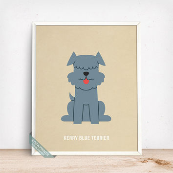 Kerry Blue Terrier Print, Kerry Blue Terrier Poster, Dog Print, Dog Breed, Irish Blue Terrier, Wall Art, Dog Poster, Fathers Day Gift
