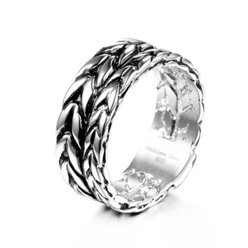 Fashion Jewelry Simple Chain Ring For Women 316L Stainless Steel Biker Rings Trendy Wedding  Ring   VR168