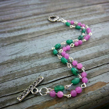 Pink Jade and Green Kiwi Gemstone Silver Bracelet Minimalist Jewelry