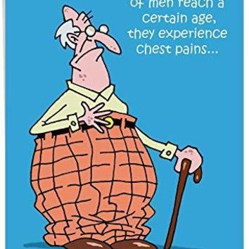 Chest Pains Birthday Card' Big Greeting Card - Old Man with Cane Funny Cartoons, Pants Too High, Belt Tight Comics Stationery Set for Funny Birthday Card - Free Shipping