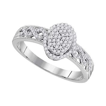 10kt White Gold Women's Round Diamond Oval Cluster Milgrain Twist Bridal Ring 1/4 Cttw - FREE Shipping (US/CAN)
