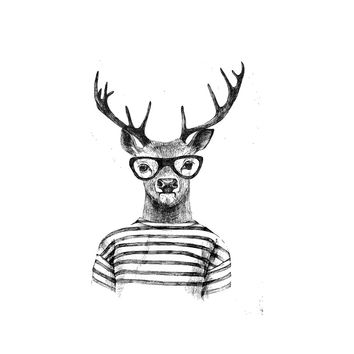 Hipster Deer Circle Wall Decal