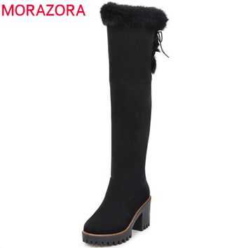MORAZORA 2018 Winter boots for women high heels shoes woman keep warm over the knee boots woman platform snow boots