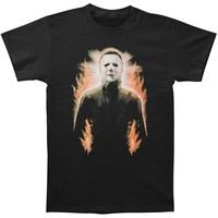 Halloween Men's  Mike Myers Flames T-shirt Black