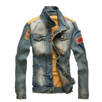 Men's Vintage Skinny Classic Army Ripped Denim Stars & Stripes Casual Jacket