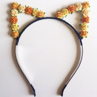 Yellow OrangeFlower Cat Ears #E1012