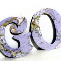 GO Upcycled Vintage Map Letters by HookUUpCustomCrafts on Etsy