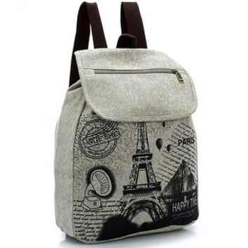 Cgecko 389-0350 Leisure Retro Canvas Paris Eiffel Tower College School Backpack Rucksack Outdoor Travel Duffel Bag