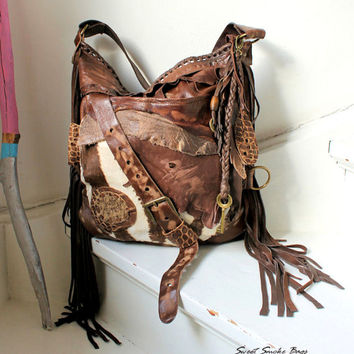af7ca880fe Unique large pirate style leather bag hobo brown asymmetrical strap  bohemian boho festival tribal high fashion