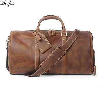 Vintage Big Capacity Men Cow Leather Travel Bag Durable Genuine Leather Tote Travel Duffel Large Overnight Weekend Luggage Bags