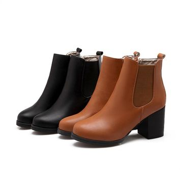Pu Leather Ankle Boots High Heels Women Shoes Fall|Winter 7922