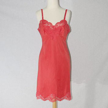 4e9095241 Vintage 1950s Full Red Slip Dress Nightgown Lace Pin-up M 34