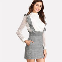 Womens  Waist Skirt Autumn Grey Skirts Women With Zipper Shirred Waist Plaid Skirt With