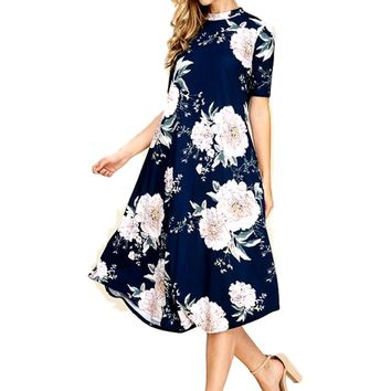 Mock Neck Floral Flared Midi Dress, Navy