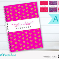A5 Personalised Cute Romantic Notebooks - Valentines Notebooks - 4 designs to choose from