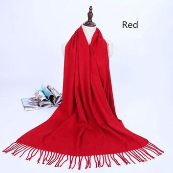 Solid Color Warm Students Tassel Wool Scarf Autumn And Winter Long Thick Cashmere Dual Use Cashmere Shawl
