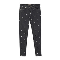 Heart Embroidered Denim Skinny Jeans