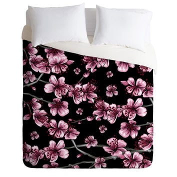 Belle13 Cherry Blossoms On Black Duvet Cover